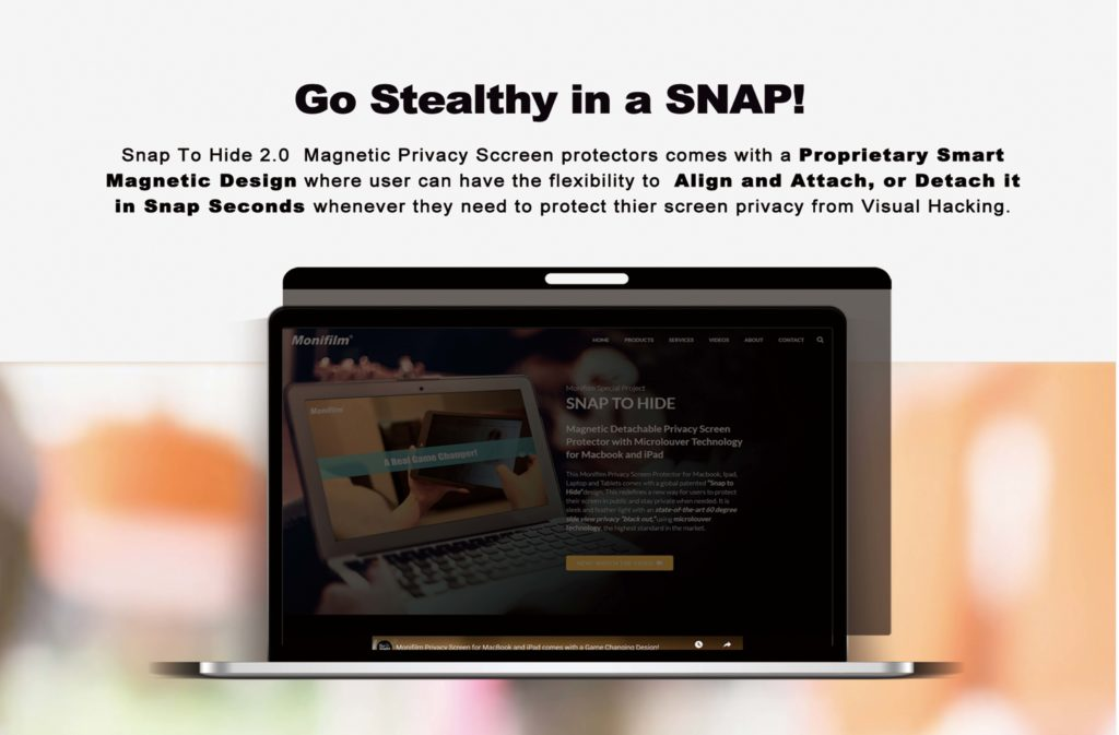 Snap to Hide 2 0 Magnetic Privacy Screen Protector for MacBook Pro & Air